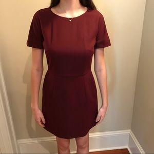 Short-sleeve maroon dress